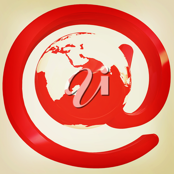 Glossy icon with mail for Earth on a white background. 3D illustration. Vintage style.