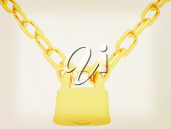 gold chains and padlock isolation on white background - 3d illustration. 3D illustration. Vintage style.