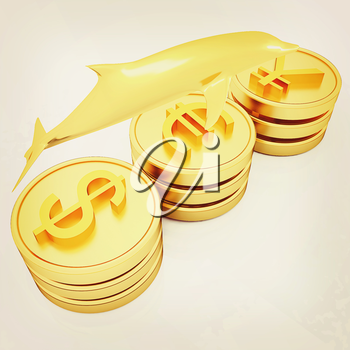 Gold coins with 3 major currencies with golden dolphin on a white background. 3D illustration. Vintage style.