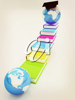 The growth of education. Globally. 3D illustration. Vintage style.