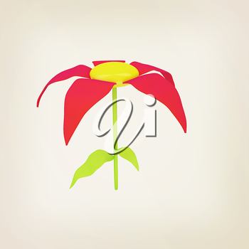 Flower icon on a white background. 3D illustration. Vintage style.