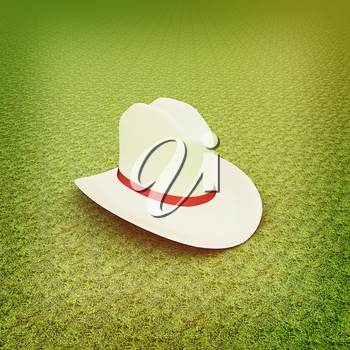 White hat with a red ribbon on a green grass background. 3d. 3D illustration. Vintage style.