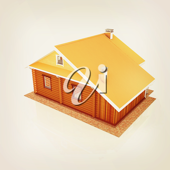 Wooden travel house or a hotel on a white background. 3D illustration. Vintage style.