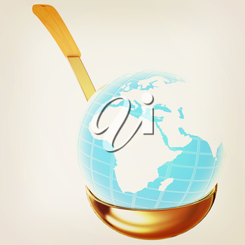 Blue earth on gold soup ladle on a white background. 3D illustration. Vintage style.