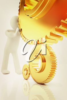 Gold gear set with 3d man on a white background. 3D illustration. Vintage style.