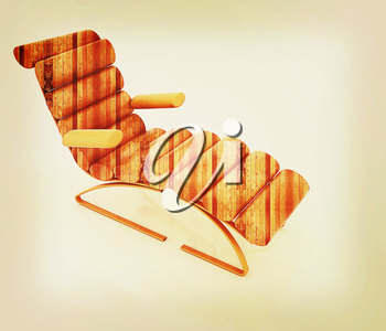 Comfortable wooden Sun Bed on white background . 3D illustration. Vintage style.