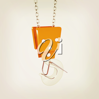 Crane hook on a white background. 3D illustration. Vintage style.