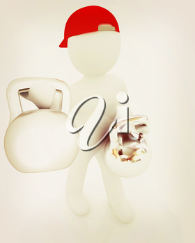 3d man with kettlebell. Bodybuilding. Lifting kettlebell on a white background. 3D illustration. Vintage style.