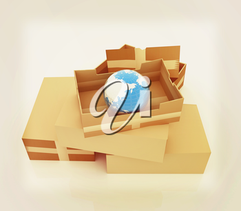 Cardboard boxes and earth . 3D illustration. Vintage style.
