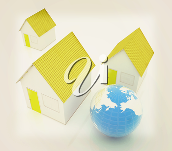 Houses and Earth on a white background. 3D illustration. Vintage style.