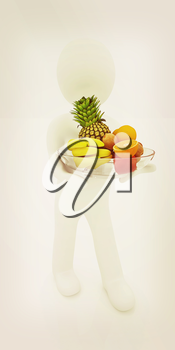 3d man with citrus on a plate on a white background. 3D illustration. Vintage style.