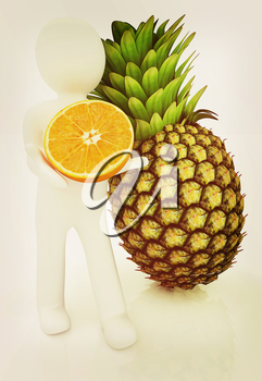 3d man with citrus on a white background. 3D illustration. Vintage style.