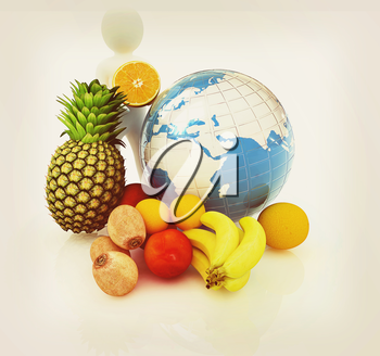 3d man with citrus and earth on a white background. 3D illustration. Vintage style.