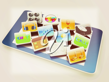 Touchscreen Smart Phone with Cloud of Media Application Icons on a white background. 3D illustration. Vintage style.