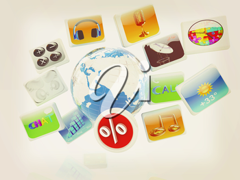 Earth and percent with cloud of media application Icons on a white background. 3D illustration. Vintage style.