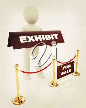 3d man opens the exhibition on a white background. 3D illustration. Vintage style.