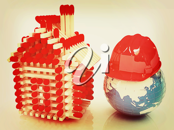 Log house from matches pattern on white and hard hat on earth . 3D illustration. Vintage style.