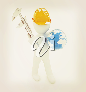 3d man engineer in hard hat with vernier caliper and Earth on a white background. 3D illustration. Vintage style.
