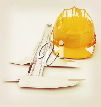 Vernier caliper and yellow hard hat 3d on a white background. 3D illustration. Vintage style.