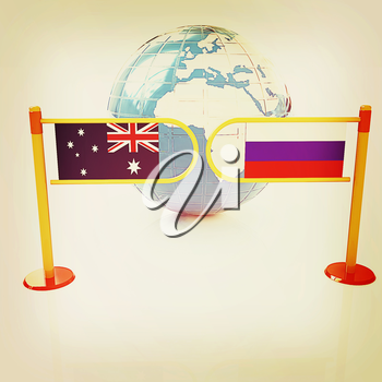 Three-dimensional image of the turnstile and flags of Russia and Australia on a white background . 3D illustration. Vintage style.