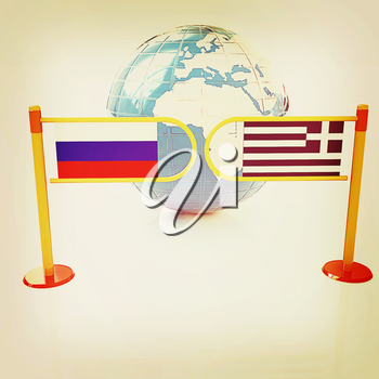 Three-dimensional image of the turnstile and flags of Russia and Greece on a white background . 3D illustration. Vintage style.