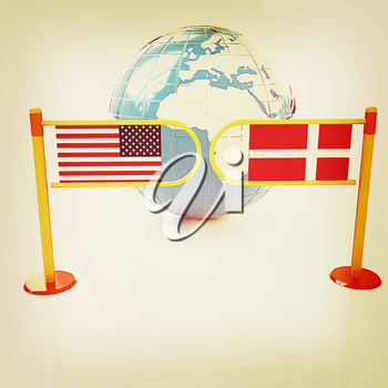 Three-dimensional image of the turnstile and flags of Denmark and USA on a white background . 3D illustration. Vintage style.