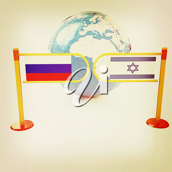 Three-dimensional image of the turnstile and flags of Russia and Israel on a white background . 3D illustration. Vintage style.
