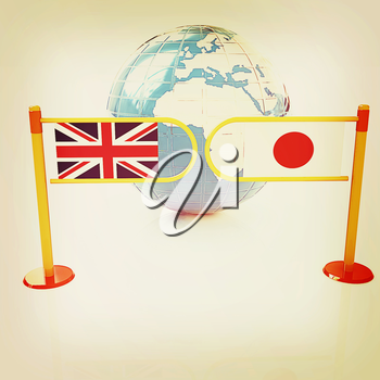 Three-dimensional image of the turnstile and flags of UK and Japan on a white background . 3D illustration. Vintage style.