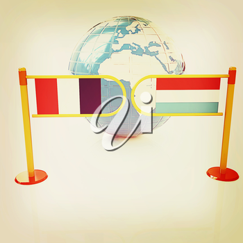 Three-dimensional image of the turnstile and flags of France and Luxembourg on a white background . 3D illustration. Vintage style.