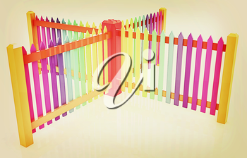 Colorfull glossy fence on a white background. 3D illustration. Vintage style.