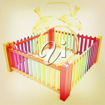 Time protection concept. Gold alarm clock clock closed colorfull fence on a white background. 3D illustration. Vintage style.