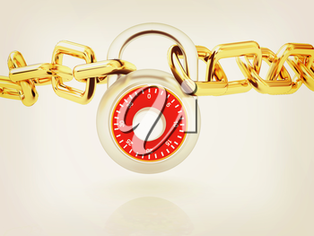 Padlock and chain on a white background. 3D illustration. Vintage style.