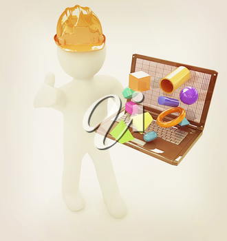 3D small people - an engineer with the laptop presents 3D capabilities on a white background. 3D illustration. Vintage style.