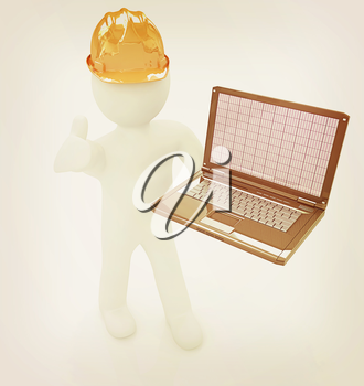 3D small people - an engineer with the laptop on a white background. 3D illustration. Vintage style.