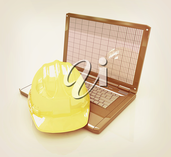 Technical engineer concept on a white background. 3D illustration. Vintage style.