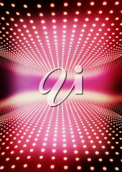 Light path to infinity on a pink background.. 3D illustration. Vintage style.