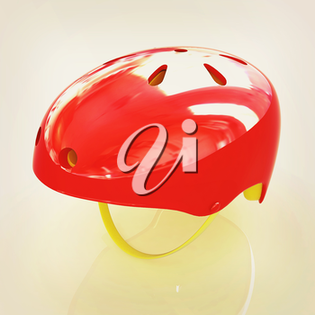 Bicycle helmet on a white background. 3D illustration. Vintage style.