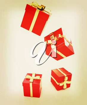 Bright christmas gifts on a white background . 3D illustration. Vintage style.