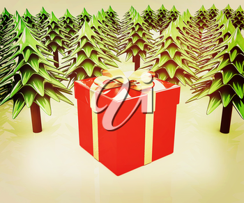 Christmas trees and gift on a white background. 3D illustration. Vintage style.