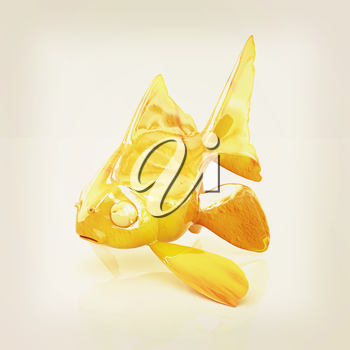 Gold fish on a white background. 3D illustration. Vintage style.