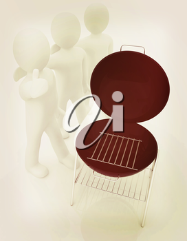 3d man with barbeque isolated on white . 3D illustration. Vintage style.