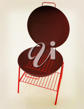 Oven barbecue grill on a white background. 3D illustration. Vintage style.
