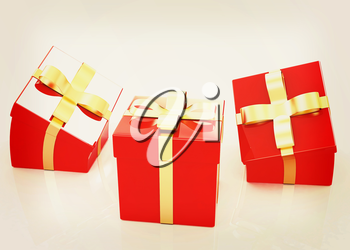 Crumpled gifts on a white background. 3D illustration. Vintage style.