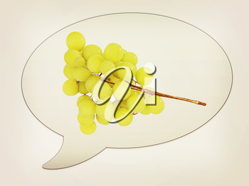 messenger window icon and Grapes. 3D illustration. Vintage style.