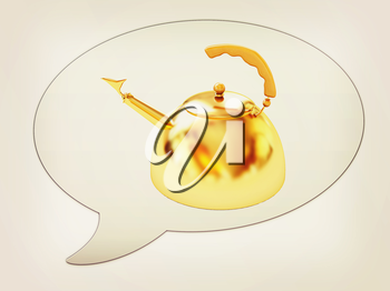 messenger window icon and glossy golden kettle . 3D illustration. Vintage style.