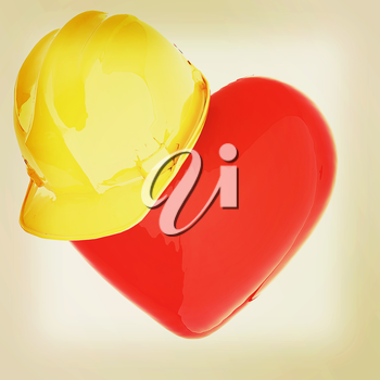hard hat on heart. 3D illustration. Vintage style.