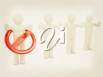 3d persons and stop sign . 3D illustration. Vintage style.