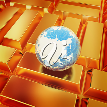 Earth and gold bars. 3D illustration. Vintage style.