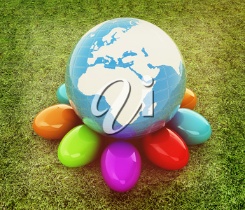 Earth on Colored Easter eggs on a green grass. 3D illustration. Vintage style.
