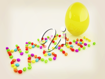 Easter eggs as a Happy Easter greeting and Big Easter Egg on white background. 3D illustration. Vintage style.